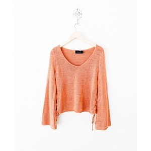 minkpink rusty salmon lace up sides sweater